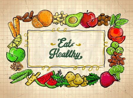 Eat healthy quote card, assorted vegetables and fruits frame graphic illustration Stockfoto