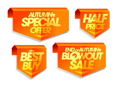 Autumn special offer, best buy, half price, end of autumn blowout sale, autumn sale tags set