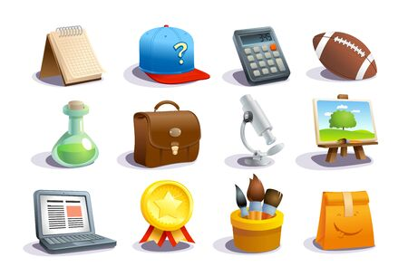 School icons and symbols set, education concept objects - notebook, calculator, test tube, microscope, laptop, medal, etc. Stock Illustratie