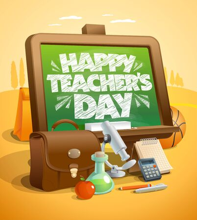 Happy teachers day card vector illustration with autumn landscape