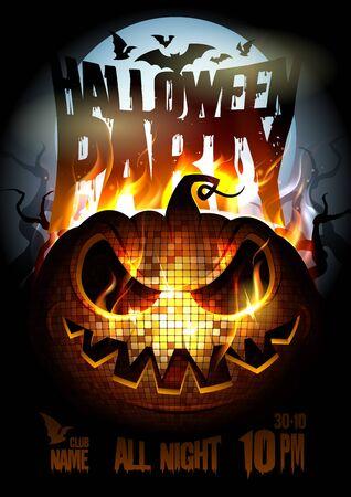 Diseño de cartel de fiesta de Halloween con calabaza ardiendo en llamas