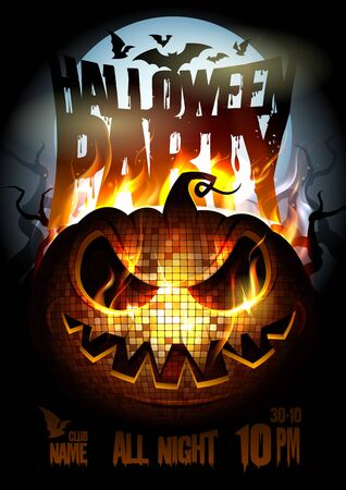 Halloween party poster design with burning in flame angry pumpkin Stock Illustratie