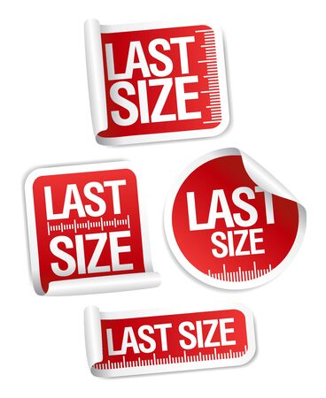 Last size clothing sticky labels set