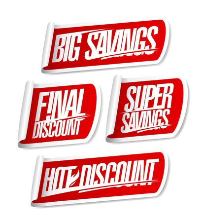Big savings, final discount, super savings, hot discount - sale stickers set