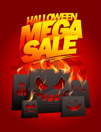 Halloween mega sale vector poster or banner design with burning evil paper bags Stock Illustratie