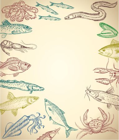 Fish and seafood frame on a paper, hand drawn graphic illustration with empty space for text, suitable for menu