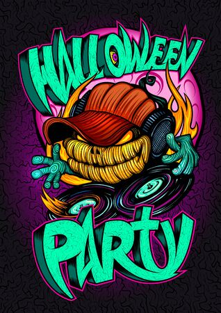 Halloween party poster, invitation card or web banner with scary dj pumpkin head and vinyl Stock Illustratie