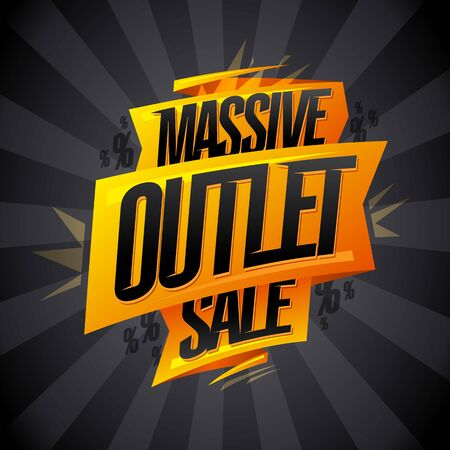 Massive outlet sale vector banner design with origami ribbon and rays Stock Illustratie