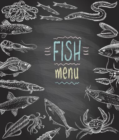 Fish and seafood menu chalkboard, hand drawn graphic vector illustration Illusztráció