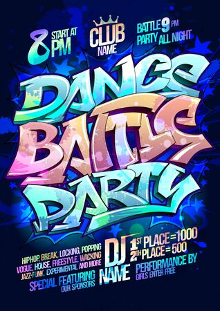 Dance battle party lettering poster design with copy space for text