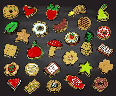 Assorted cookies set on a chalkboard, graphic hand drawn vector illustration