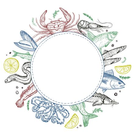 Fish and seafood round frame for menu, hand drawn graphic vector illustration Ilustracja