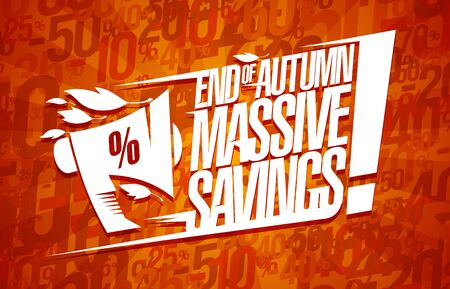 End of autumn massive savings banner design, sale vector poster