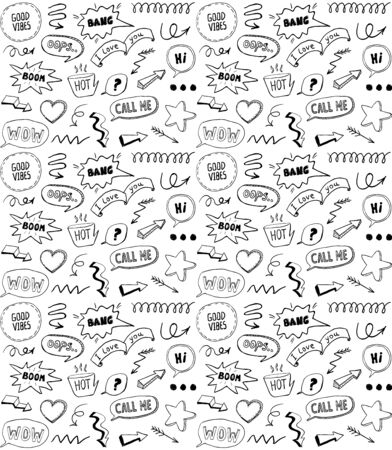Black and white doodle style seamless pattern with comic style elements, hand drawn vector illustration
