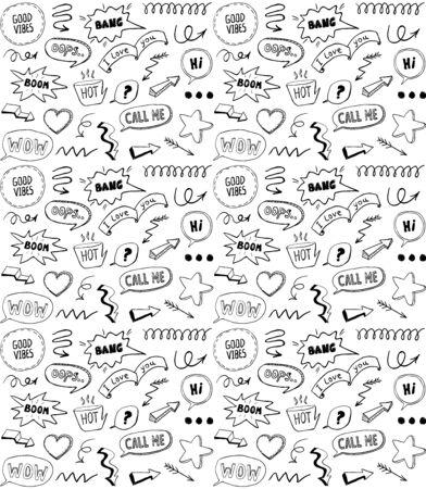 Modèle sans couture de style doodle noir et blanc avec des éléments de style bande dessinée, illustration vectorielle dessinés à la main