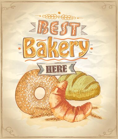 Best bakery here vector poster concept
