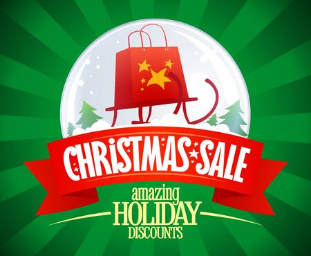 Christmas sale vector banner, holiday discounts poster with snow globe and sleigh