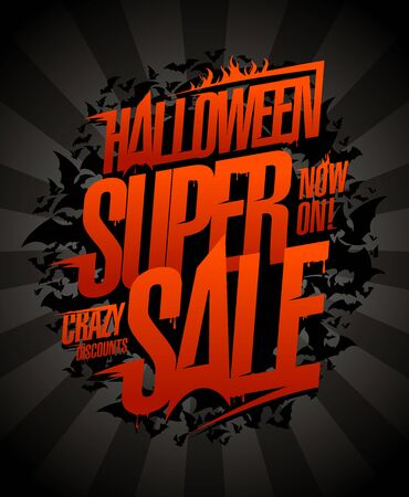 Halloween super sale vector poster, crazy discounts now on Foto de archivo - 131118242