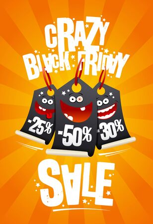 Crazy black friday sale poster design with funny cartoon price tags