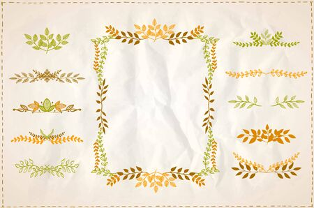 Graphic line autumn branches frame and dividers set on a paper, vintage style