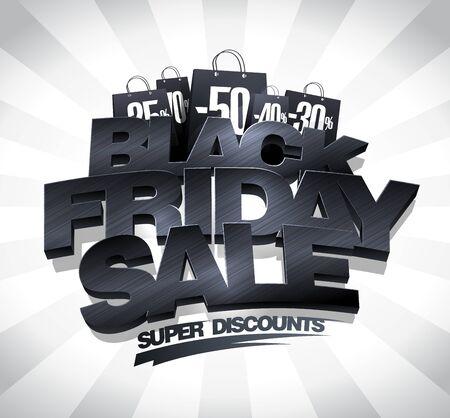Black friday sale vector banner design concept, super discounts Illustration