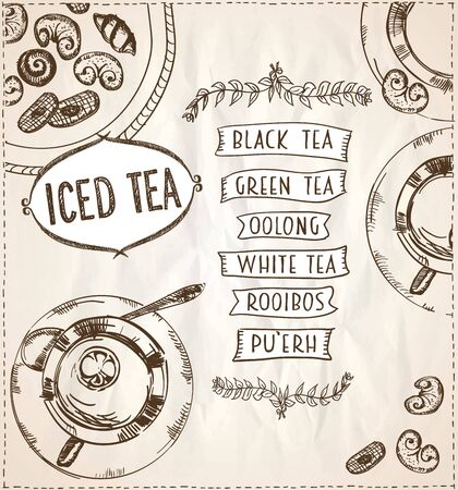 Iced tea menu art design concept on a paper, art hand drawn vector illustration with tea cups and assorted pastry