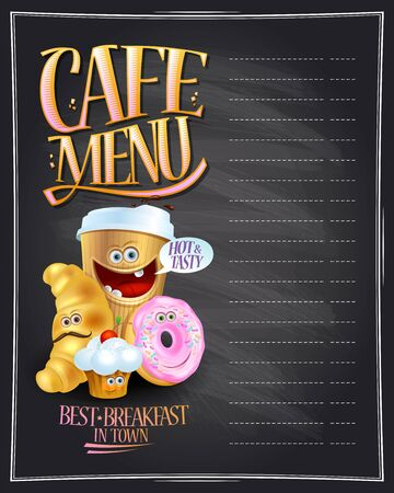 Cafe menu board design with empty space for text and coffee, croissant, muffin and donut symbols as a cartoon personages