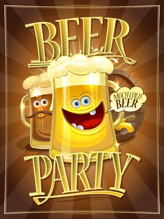 Beer party poster design concept with cartoon happy beer mugs