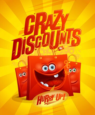 Crazy discounts sale poster design with shopping bags as a cartoon personages