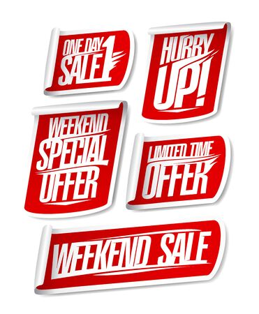 One day sale, weekend special offer, limited time offer, hurry up, weekend sale - vector discount stickers set Stock Illustratie