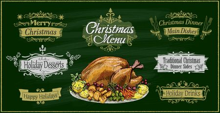 Chalk christmas menu on a green board with traditional roasted turkey and holiday lettering signs set - merry christmas, holiday desserts, happy holidays, christmas dinner and holiday drinks