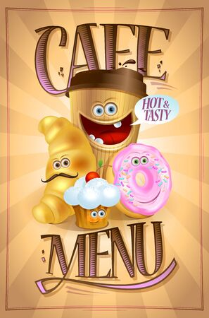 Cafe menu board design with coffee, croissant, muffin and donut symbols as a cartoon personages