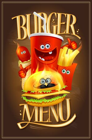Burger menu cover design with fast food symbols as a cartoon personages