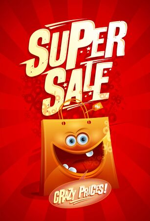 Super sale, crazy prices - poster design with cartoon funny paper shopping bag Illusztráció