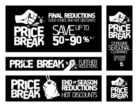 Banners met prijsonderbrekingen - seizoensopruiming voor de hele winkel, kortingen aan het einde van het seizoen, hete kortingen