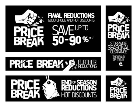 Price break banners set - storewide seasonal clearance, end of season reductions, hot discounts