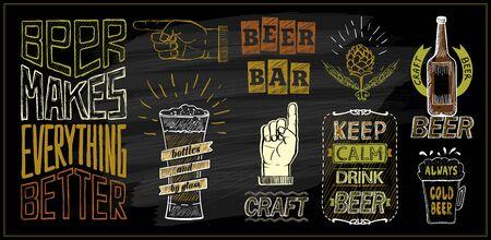 Ensemble de conceptions de cartes de menu de bière à la craie - bar à bière, garder le calme, boire de la bière, la bière rend tout meilleur, la bière artisanale, etc.