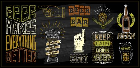 Chalk beer menu board designs set - beer bar, keep calm drink beer, beer makes everything better, craft beer, etc.
