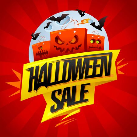 Halloween sale banner design concept with angry paper bags and moon