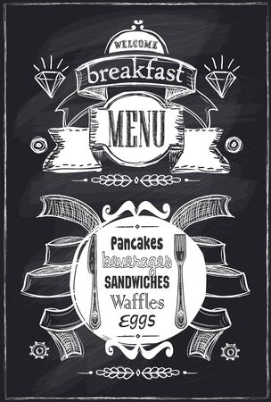 Chalk breakfast menu, vintage style on a chalkboard