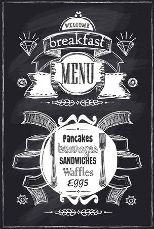 Chalk breakfast menu, vintage style on a chalkboard