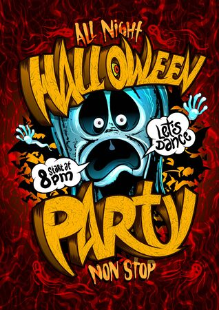 Halloween party poster design with screaming ghost and speech bubbles