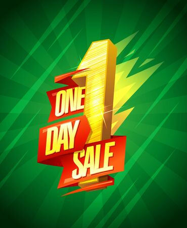 One day sale holiday banner concept, lettering design with origami ribbons