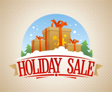 Holiday sale banner, vintage style vector illustration with gift boxes