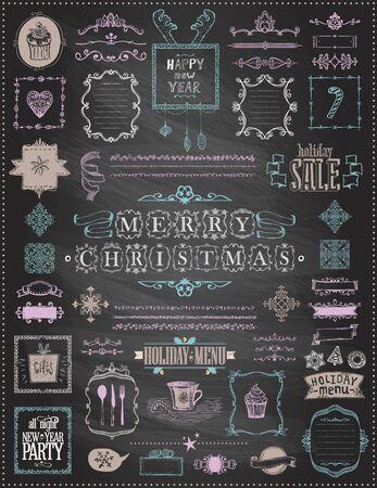 Éléments de croquis de Noël et du nouvel an sur un tableau noir - rubans, cadres, menus, diviseurs et phrases, style vintage, illustration vectorielle de doodle, dessinés à la main Vecteurs