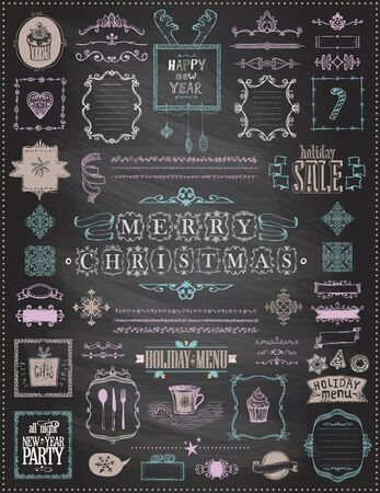 Holiday Christmas and New Year sketch elements set on a chalkboard - ribbons, frames, menus, dividers and phrases, vintage style, doodle vector illustration, hand drawn Vektorové ilustrace