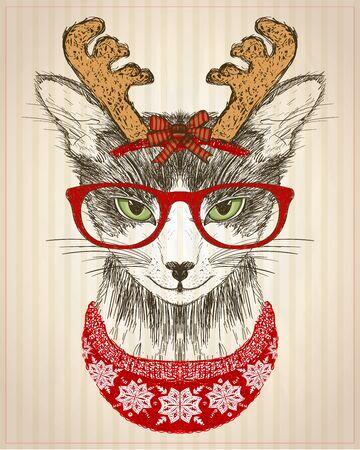 Grafisches Poster mit Hipster-Katze in roter Brille, Hirschhornmütze und rotem Strickpullover, Neujahrskarte, lustige Weihnachtsmode für Haustiere, handgezeichnete Illustration