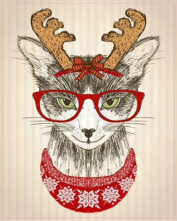 Graphic poster with hipster cat dressed in red glasses, deer horns hat and red knitted sweater, new year card, christmas pet funny fashion, hand drawn illustration