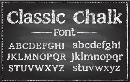 Police de vecteur de craie classique d'écriture manuscrite, lettrage de typographie sur un tableau noir, alphabet dessiné à la main