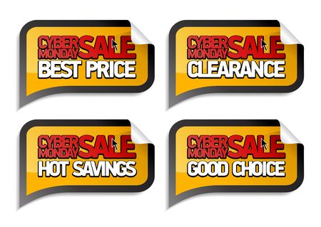 Cyber monday sale stickers set - best price, clearance, hot savings, good choice